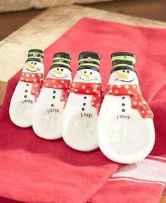 Family Snowman Measuring Spoon Cups Set Kitchen Christmas Gift Holiday