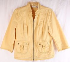 Chico's Light Yellow Cotton Blend Zip Front 3/4 Sleeve Jacket 1 S 8-10 #Chicos #BasicJacket