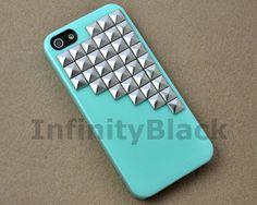 Mint Green Iphone 5 case, iphone 5s case, Antique Pyramid Silver Studs Iphone 5 case, Iphone 5S case Cover, Hard Plastic Iphone 5 Case
