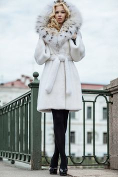 hooded white mink & lynx fur coat