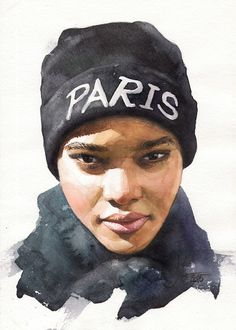 """Paris"" - Alexander Dzivnel, watercolor, 2015 {female head African-American black woman face portrait painting #loveart}"