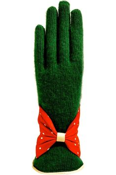 Wool Blend Knit Gloves in color Forest Green with very soft leather in Red with Winter White Polka dots and Winter White leather trim at wrist. These gloves not only will keep your hands warm but they also look very stylish with your coat. SANTACANA. Glovers since 1896, they opened their first store in Madrid Calle Carretas, produce the best handmade leather gloves, in the same manner and with the same spirit more than one hundred years ago.   Wool Leather Gloves by Santacana Madrid…