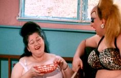"Edith Massey (as Edie, ""The Egg Lady"") and Divine (as Babs Johnson) from John Waters' Pink Flamingos, 1972"