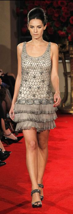 Alberta Ferretti FW 2013-14 | platinum tired cocktail dress with embellishment