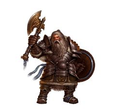 Dwarf Male Axe and Shield Fighter - Pathfinder PFRPG DND D&D d20 fantasy