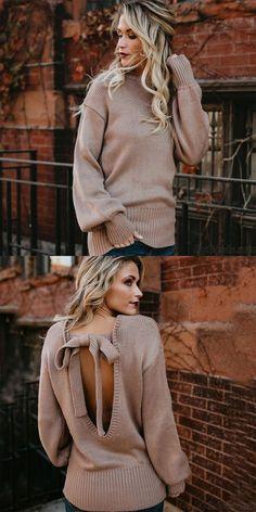 Manera de la mujer de la espalda del arco del arco de punto suelto suéter largo de lana #sweater #cardigan Fall Sweaters, Cute Sweaters, Cardigan Sweaters For Women, Girls Sweaters, Ugly Sweater, Long Sweaters, Cardigans For Women, Cheap Cardigans, Cardigan Fashion