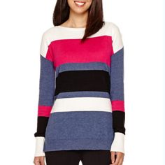 Liz Claiborne® Long-Sleeve Striped Sweater  found at @JCPenney