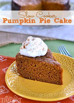 An unbelievably moist and delicious Pumpkin Cake straight from your slow cooker! MomOnTimeout.com