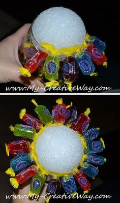 My Creative Way: How to make a Candy Bouquet in a wine glass Candy Boquets, Candy Bouquet Diy, Diy Bouquet, Lollipop Bouquet, Candy Arrangements, Candy Centerpieces, Craft Gifts, Diy Gifts, Food Gifts