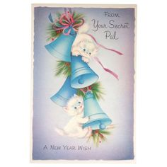 Unused Playful Kittens Secret Pal New Year Vintage Norcross Greeting Card - A perfect vintage card for a cat lover!