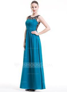 Vestidos princesa/ Formato A Decote redondo Longos De chiffon Renda Vestido de Férias com Pregueado (020080822)