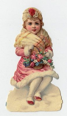 Victorian girl in pink, with roses, snow. very pretty