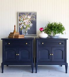 Mar 2020 - Paint Me Twice painted these matching side table cabinets with Chalk Paint® furniture paint by Annie Sloan in Oxford Navy, an inky, traditional navy blue. They looks regal and classic, and almost nautical next to the striped wall paper. Annie Sloan Painted Furniture, Blue Painted Furniture, Colorful Furniture, Furniture Paint Colors, Furniture Design, Bedroom Furniture, Paper Furniture, Painted Chest, Painted Chairs