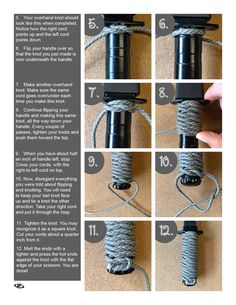 Need a better grip on your knife or fishing rod? Paracord Braids, Paracord Knots, Rope Knots, Paracord Knife Handle, Bull Whip, Survival Knots, Knots Guide, Diy Knife, Paracord Tutorial