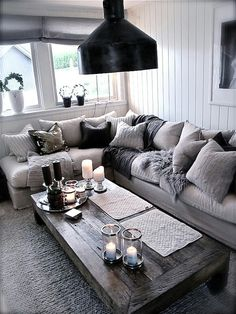 Totally swooning over this cozy chic living room! The different shades of grey a. Totally swooning over this cozy chic living room! The different shades of grey against a light couch brings a modern twist to your home decor. Cozy Living Rooms, My Living Room, Home And Living, Living Spaces, Apartment Living, Cottage Living, Living Area, Cozy Apartment, Apartment Ideas