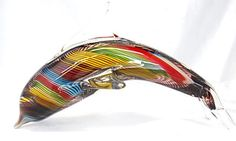Glass Dolphin Figurine Paperweight Rainbow Striped Arching Yellow Red Green