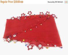 SALE 20% Dark Red Scarf , Cotton cowl with crochet motifs , Womens neck scarves , foulard ,Re scarflette, Cotton neckscarf, Scarf Necklace