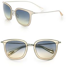 Oliver Peoples Annetta 64MM Square Sunglasses (£260) ❤ liked on Polyvore featuring accessories, eyewear, sunglasses, apparel & accessories, silver, over sized sunglasses, oliver peoples eyewear, lens glasses, oversized square sunglasses and retro sunglasses