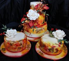 golden orange, autumn floral binding, wedding set of cakes