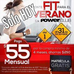 ÚLTIMO DÍA HOY 31 de diciembre hasta las 5 PM #Promo  #Diciembre momento de entrenar para el Verano !! @PowerClubPANAMA #PonteFitPowerClub solo paga B/55.00 mensual y no pagas MATRÍCULA !!! #YoEntrenoEnPowerClub