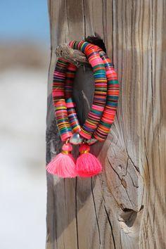 Items similar to Boho African Vinyl Tassel Bracelet with Tahitian Pearl Vintage Vulcanite Upcycled African Trade Beads Colorful Stretch Bracelet Designer on Etsy Tassel Bracelet, Tassel Jewelry, Fabric Jewelry, Beaded Jewelry, Jewelery, Handmade Jewelry, Beaded Bracelets, Bohemian Jewellery, Bohemian Bracelets