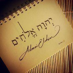 Adonai Elohim is a plural noun. Biblical Hebrew, Hebrew Words, Hebrew Names, Adonai Elohim, Hebrew Tattoo, Arte Judaica, Messianic Judaism, Learn Hebrew, Names Of God