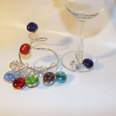 Wine Charms with Bottle Hanger Set by CraftyGalsCreate on Etsy
