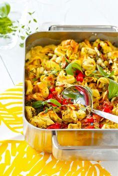 Pastavuoka   Maku Finnish Recipes, Good Food, Yummy Food, Cooking Recipes, Healthy Recipes, Healthy Food, Pasta Noodles, Weeknight Meals, Pasta Salad