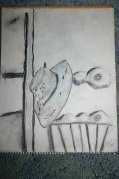 pencil sketch  hat on the chair ,park