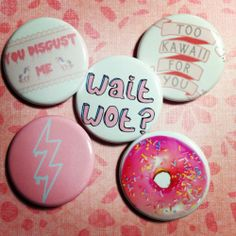 "1 25"" inch Set of 5 Pastel Goth Kawaii Soft Grunge Tumblr Pinback Buttons Free 