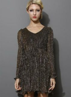 Brown Metallic Long Sleeve Pleated Dress #partydress #vneck #flare #cocktaildress
