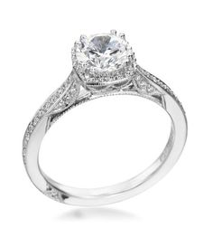 Tacori - Dantela Platinum Solitaire Halo Setting. But I'd want it in white gold and princess cut.