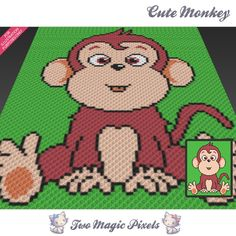 Cute Monkey crochet blanket pattern; knitting, cross stitch graph; pdf download; no written counts or row-by-row instructions by TwoMagicPixels, $3.79 USD