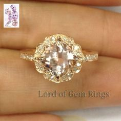 Solid 14K Rose Gold 7mm Cushion Morganite Engagement Promise Diamond Ring Floral #LOGR #SolitairewithAccents