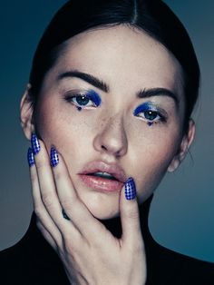 Blue editorial makeup
