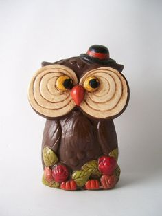 vintage big eyed owl bank figurine retro home by RecycleBuyVintage, $8.00