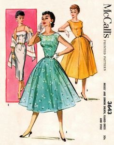 McCall's 3643 Wolf Whistle Sheath, Flared Dress & Stole 1956