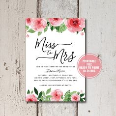 Bridal Shower Invitation Instant Download, Rustic Bridal Shower Invites, Floral Bridal Invites, DIY Miss to Mrs Shower Invitations, Download by ShadesOfGrace1 on Etsy