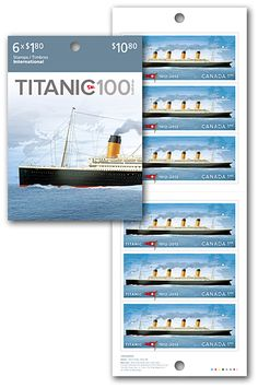 Titanic – Booklet of 6 International rate stamps    This stamp shows a full-colour side illustration of the Titanic, sailing on a calm ocean. Titanic was almost 280 metres (883 feet) in length and, at the time, it was the largest passenger steamship in the world.