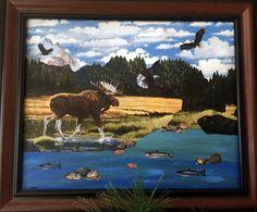 Ooak rustic wall decor,handmade recycled fabric canvas art,cabin decor,outdoor adventure,3D wall art,keepsake memento,home decor,moose,eagle by Lovepaperscissors14 on Etsy