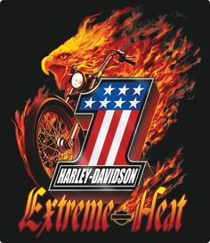 One of our hottest Harley signs! 1 Harley-Davidson Extreme Heat Sign ignites your retro garage decor with its flaming vintage Harley bike! Ande Rooney sign is made of embossed tin. Harley Davidson Posters, Harley Davidson Fat Bob, Harley Davidson Tattoos, Harley Davidson Wallpaper, Harley Davidson Sportster, Harley Davison, Harley Bikes, Extreme Heat, Model