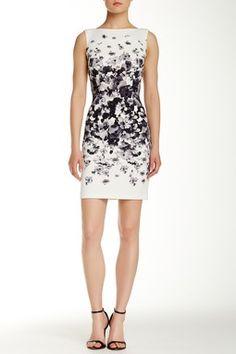 Floral Print Scuba Sheath Dress