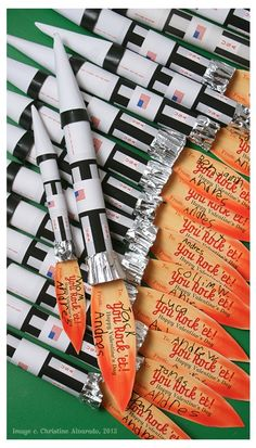 Candy Rocket Valentines (using Smarties)~Image © Christine Alvarado. Can be used as Rocket party favors too.