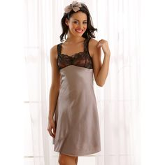 Clovia Lacy Satin Long Night Slip In Black/ Grey