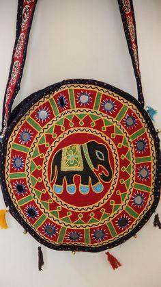 9c2c2ca47 Ethnic Rajasthani Hand Embroidered Round Black Sling Bag