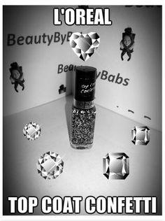 L'Oreal Top Coat Confetti, erg mooi over zwarte nagellak!