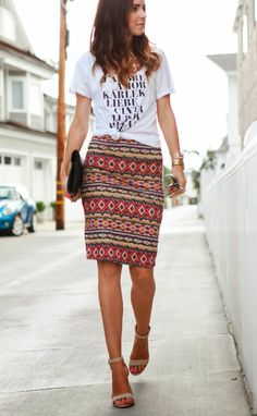 5 Fool Proof Summer Outfit Formulas (How I Wore It - MappCraft) Casual Outfits, Summer Outfits, Cute Outfits, Casual Pencil Skirt Outfits, Office Outfits, Tribal Skirts, Tribal Skirt Outfit, Printed Skirt Outfit, Graphic Tee Outfits