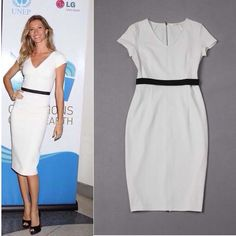 Free Shipping 2014 Newest Victoria Beckham style Stretch Cotton V-neck Back Zipper Pencil Dress  0515HU4031 $67.50