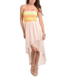 Look at this #zulilyfind! Peach & Neon Yellow Strapless Hi-Low Dress by Buy in America #zulilyfinds