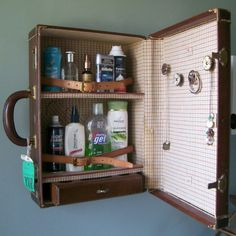 "40 Creative ways of using Old Suitcases. Ok, these aren't ""brilliant"". Some of these are cute, but pretty much they're showing 6 ways of reusing an old suitcase: Table, chair, shelf, organizer, pet bed, vanity."